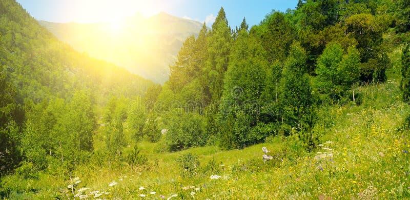 Härligt berglandskap och soluppgång pyrenees _ Wid arkivfoto