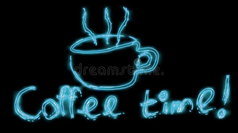 Härligt blått ljust glödande abstrakt neontecken från en kopp av läckert varmt kaffe och inskriftkaffet Tid och kopieringsutrymme royaltyfri illustrationer