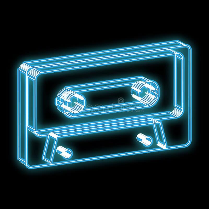Härligt blått ljust glödande abstrakt neontecken i form av en gammal retro tappninghipsterljudband av 70-tal, 80-tal, 90-tal vektor illustrationer