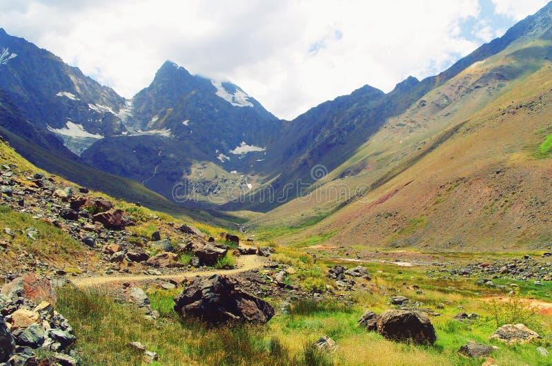 härligt blått- och gräsplanberglandskap arkivfoto