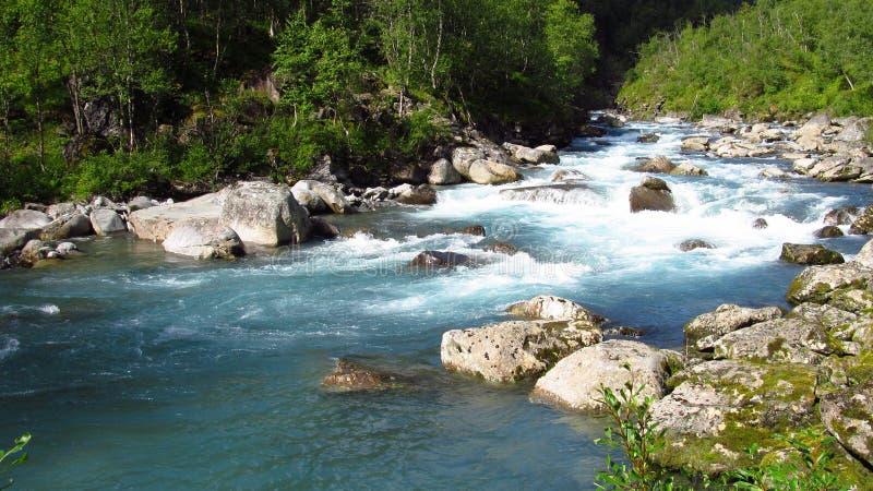 Härligt blått vatten i floden i den gröna vallen royaltyfri bild