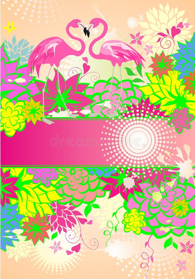 Härligt blom- sommarlikt baner med färgrika blommor och par av den rosa flamingo vektor illustrationer