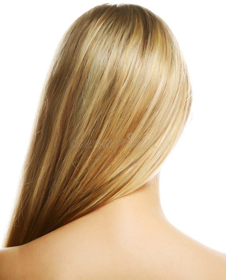 härligt blont hår long arkivbild