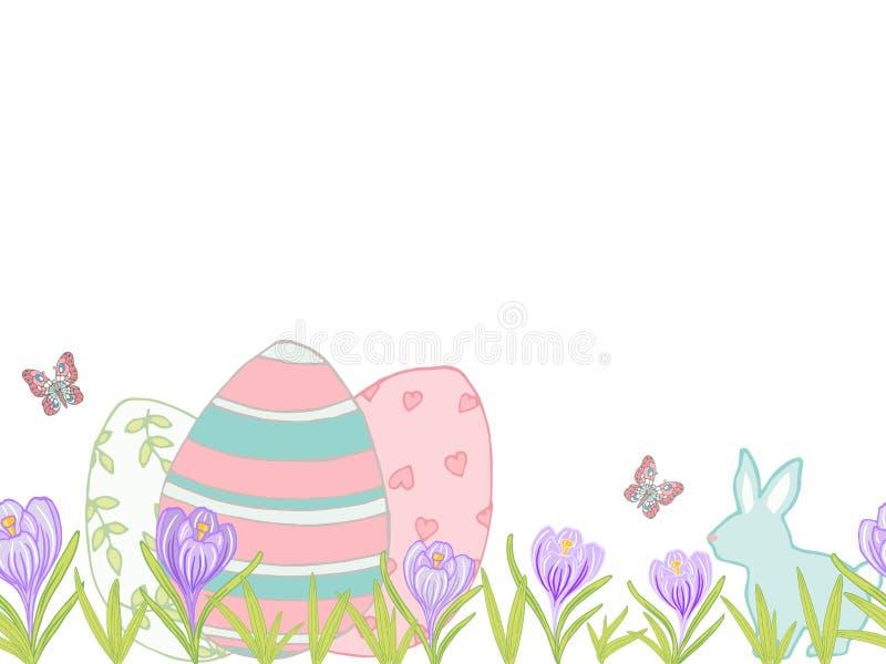 Härligt easter kort med ägg, kanin, krokus och fjärilar arkivfoto