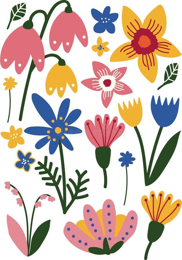 Härligt färgrikt löst och trädgård som blommar blommor, blom- sömlös modell, säsongsbetonad dekorvektorillustration vektor illustrationer