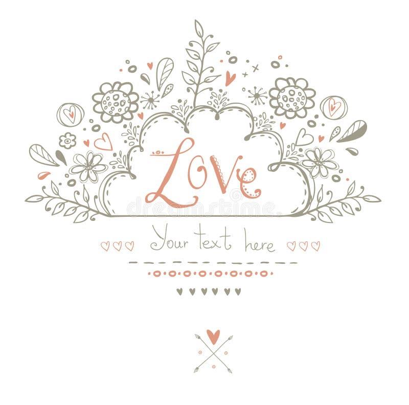 Härligt förälskelsekort i tappningstil En vektorillustration Vykort för valentindagkort royaltyfri illustrationer