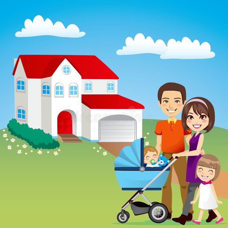 härligt familjhus royaltyfri illustrationer