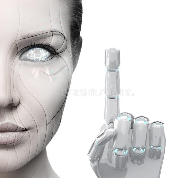 Härligt finger för cyborgkvinnashower fotografering för bildbyråer