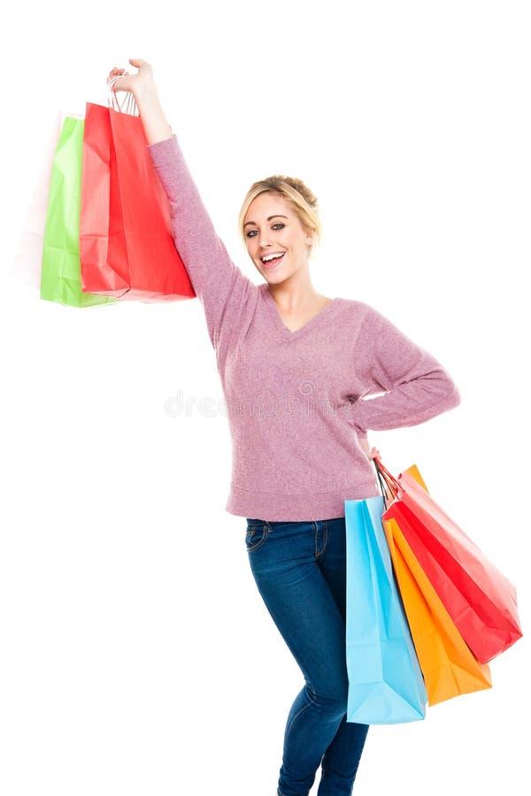 härligt fira shoppingkvinnabarn royaltyfri fotografi