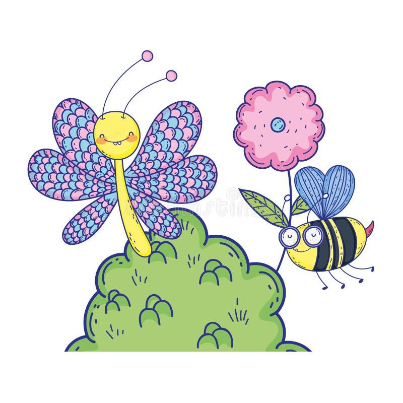 Härligt fjärilsflyg med busken vektor illustrationer