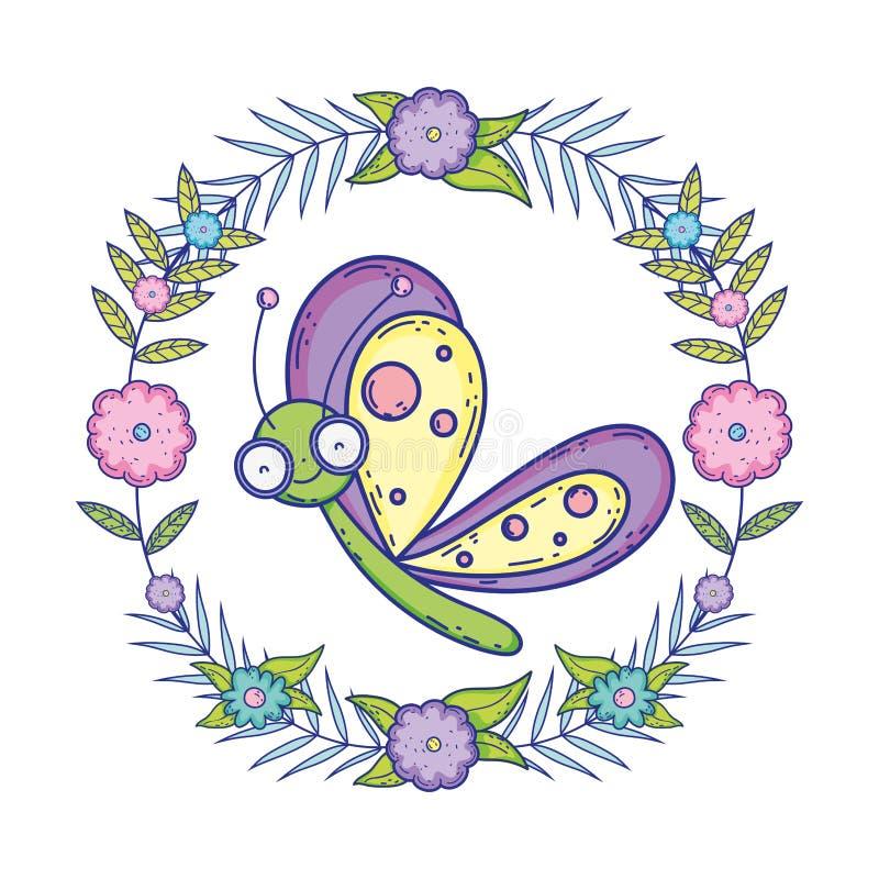 Härligt fjärilsflyg med den blom- kronan vektor illustrationer