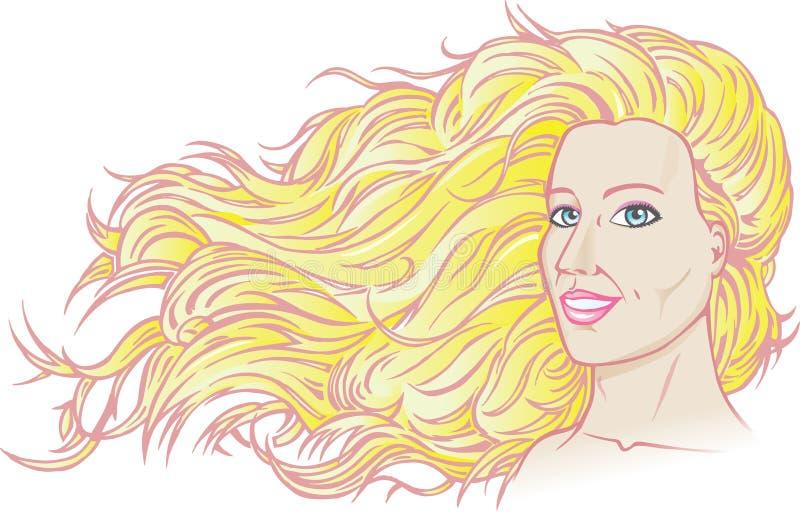 härligt flödande hår vektor illustrationer