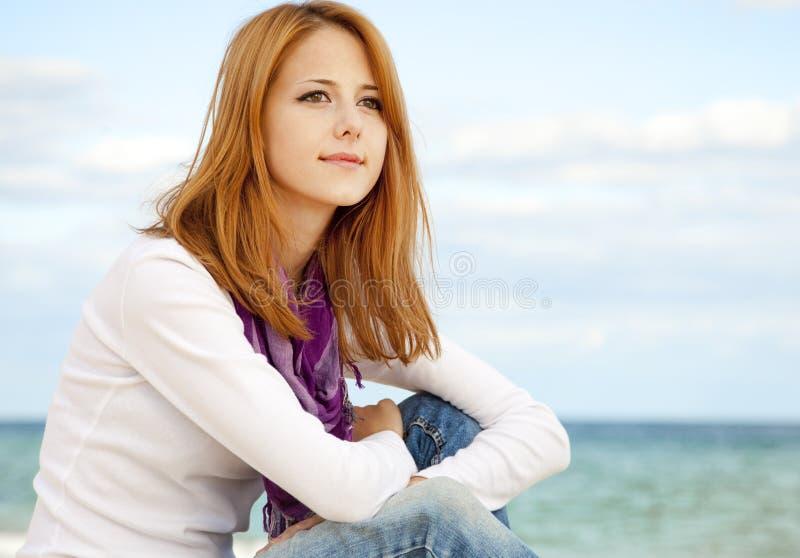 härligt flickabarn för strand royaltyfria foton