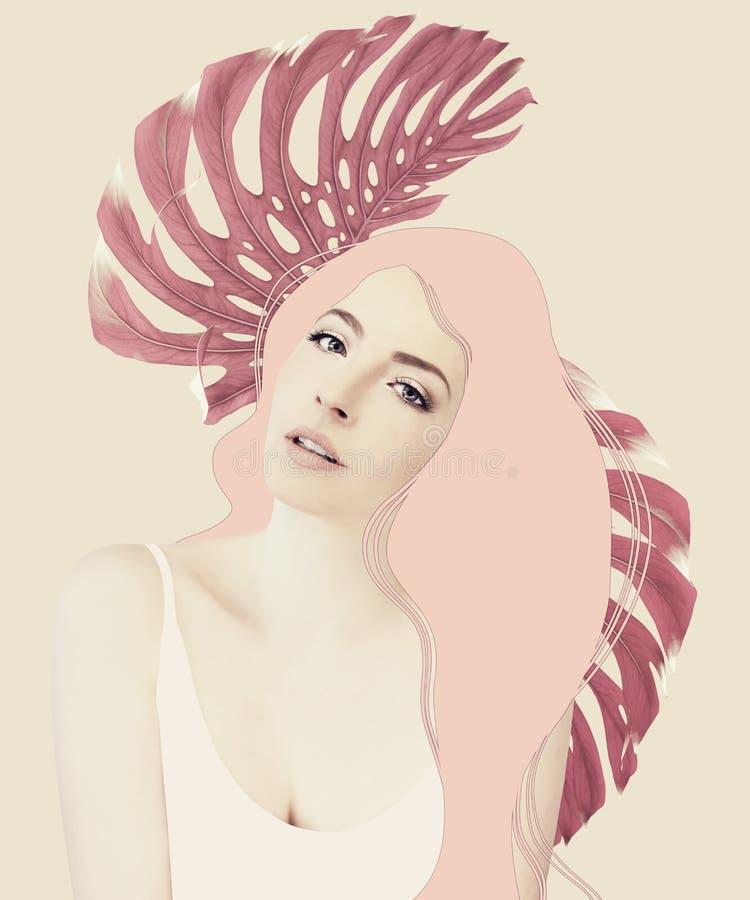 Härligt flickakonstverk i signaler för pastellfärgad färg med djungelsidor arkivfoto