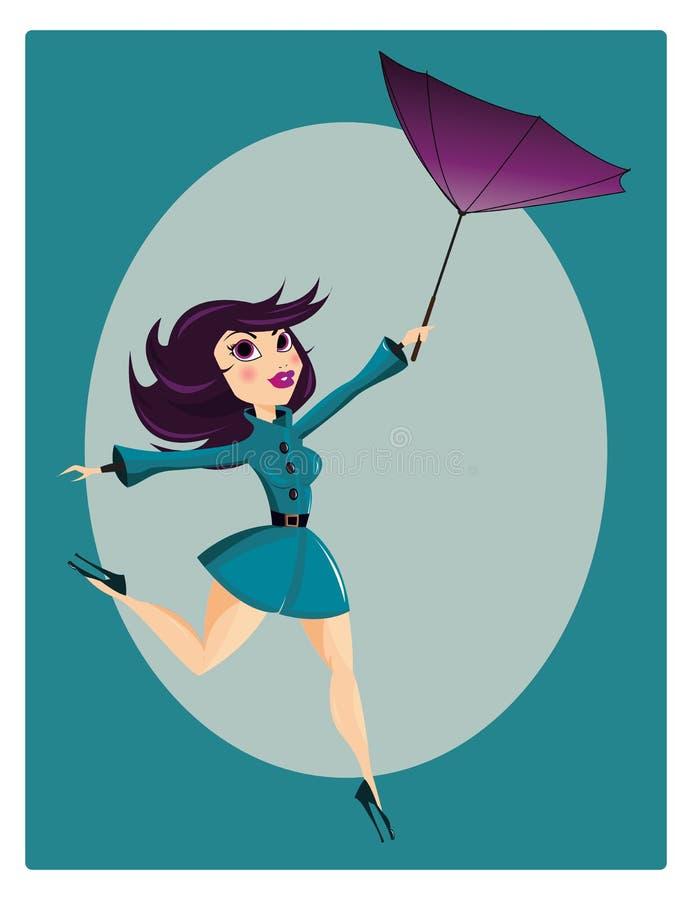 härligt flickastift upp stock illustrationer