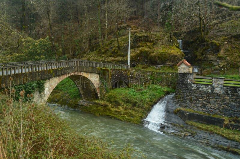 Härligt foto av vykortet med en modig flod, en Roman Bridge And som en underbara Mini Houseboat In The Natural parkerar av Gorbei arkivbild
