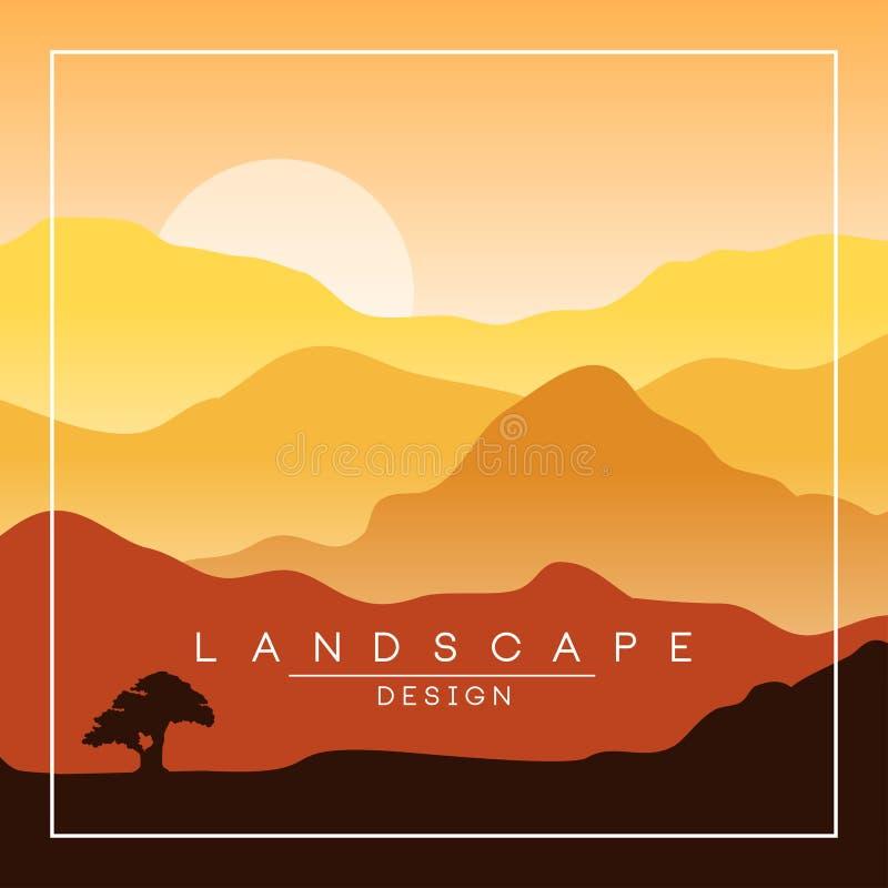 Härligt fridsamt landskap, morgon i berg, naturbakgrund för baner, reklamblad, affisch och räkning, vektor vektor illustrationer