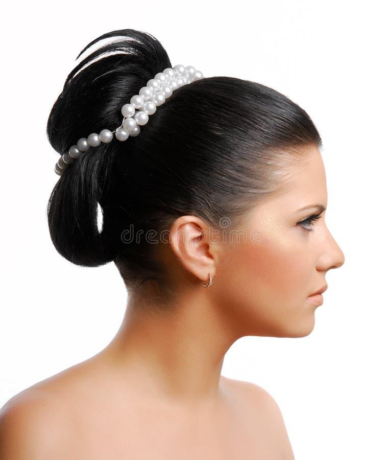 härligt frisyrbröllop royaltyfri bild