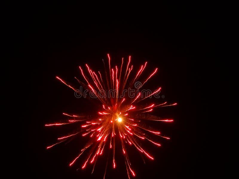 Härligt fyrverkerignistrandefoto i den mörka himlen arkivfoton