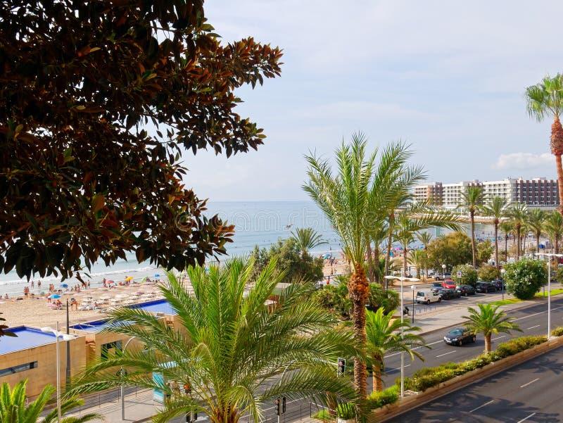 Härligt gömma i handflatan och stranden i Alicante spain royaltyfri fotografi