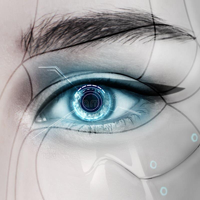 Härligt glödande kvinnligt öga för cyborg royaltyfri bild