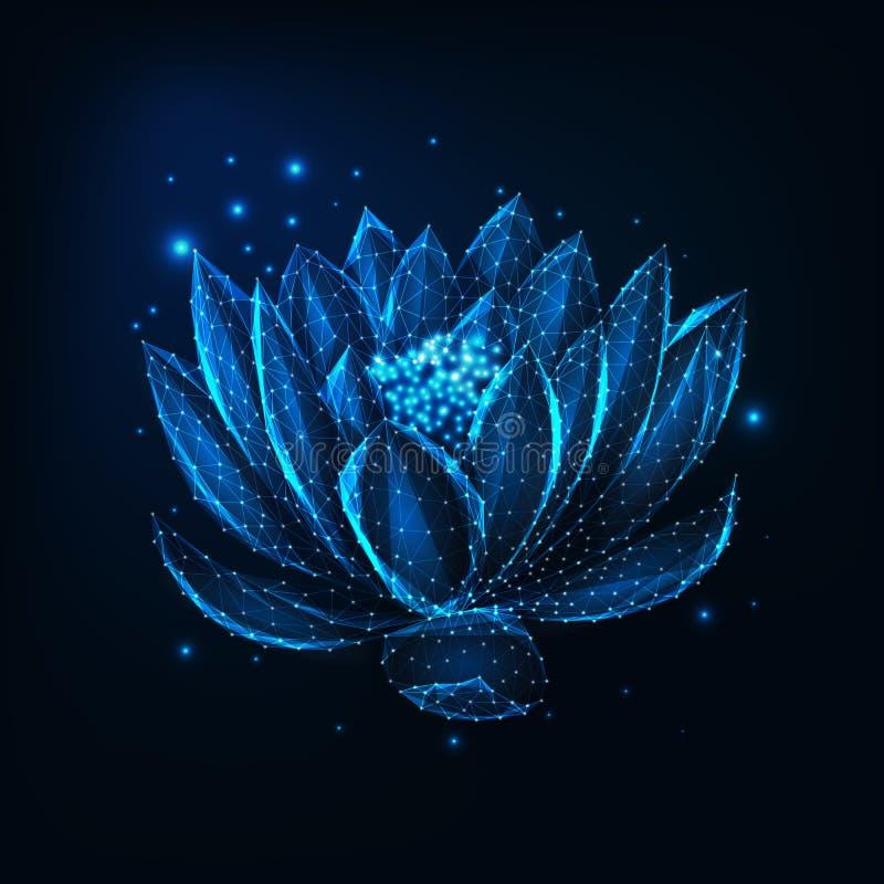 Härligt glödande lågt polygonal sväva waterlily, lotusblommablomma med stjärnor på mörkt - blå bakgrund stock illustrationer