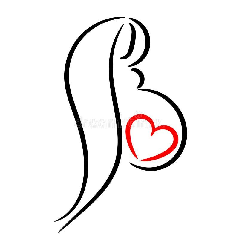 härligt gravid kvinnabarn Symbol som stiliseras vektor illustrationer