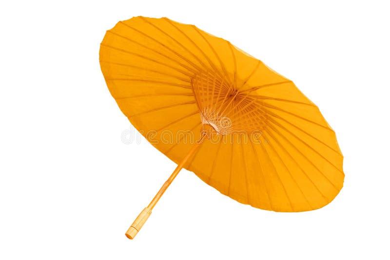 Härligt gult paraply som isoleras på vit bakgrund clipping royaltyfri bild