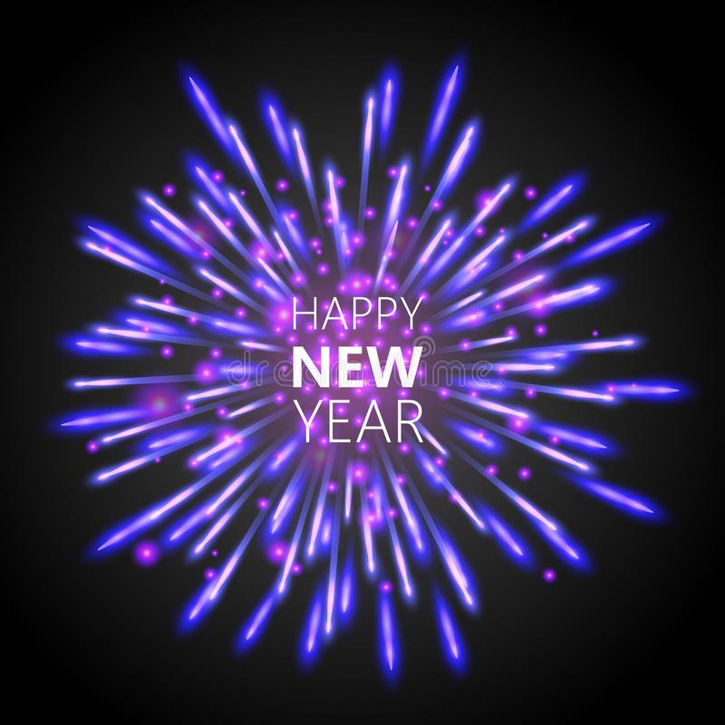 Härligt hälsningkort för lyckligt nytt år med vita och purpurfärgade blänka fyrverkerier vektor illustrationer