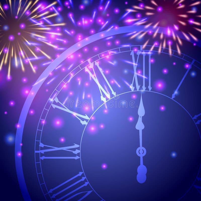 Härligt hälsningkort för nytt år med färgrika blänka fyrverkerier och en klocka på blå bakgrund royaltyfri illustrationer