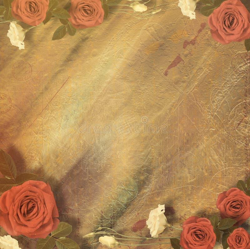 Härligt hälsningkort med buketten av röda rosor arkivfoto