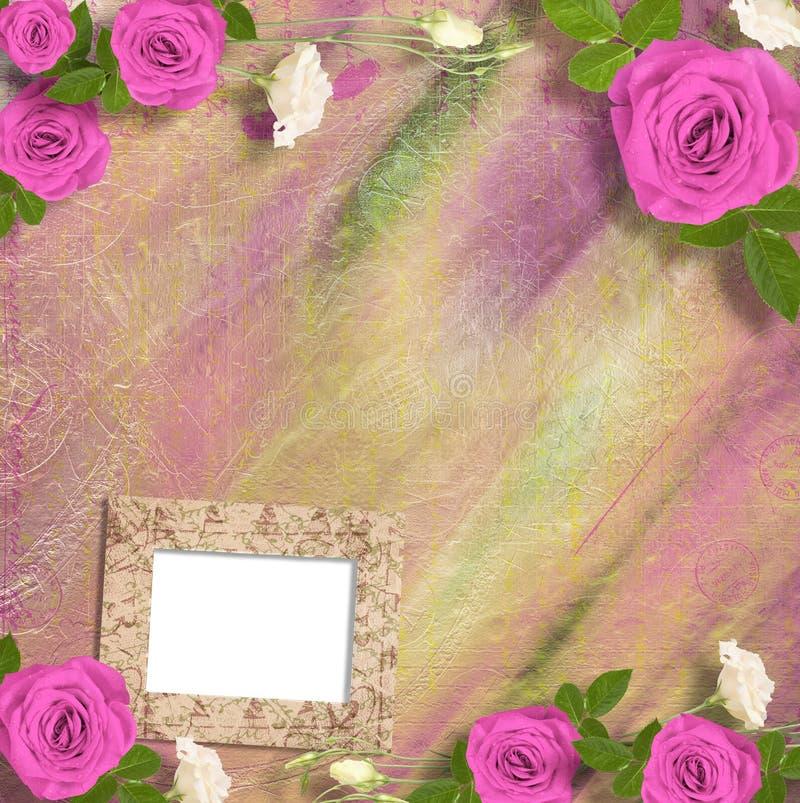 Härligt hälsningkort med buketten av rosa rosor, band arkivbild