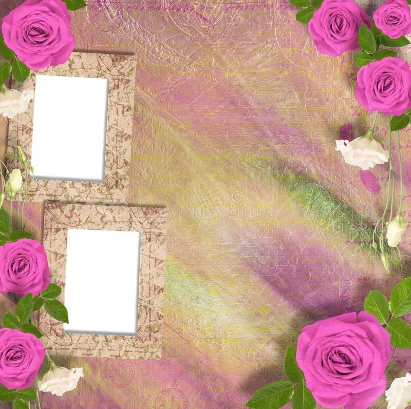Härligt hälsningkort med buketten av rosa rosor, band fotografering för bildbyråer