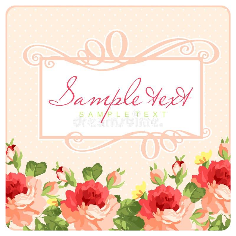 Härligt hälsningkort med ram- och rosa färgrosor royaltyfri illustrationer
