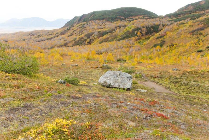 Härligt höstlandskap i berg i Kamchatka royaltyfria foton