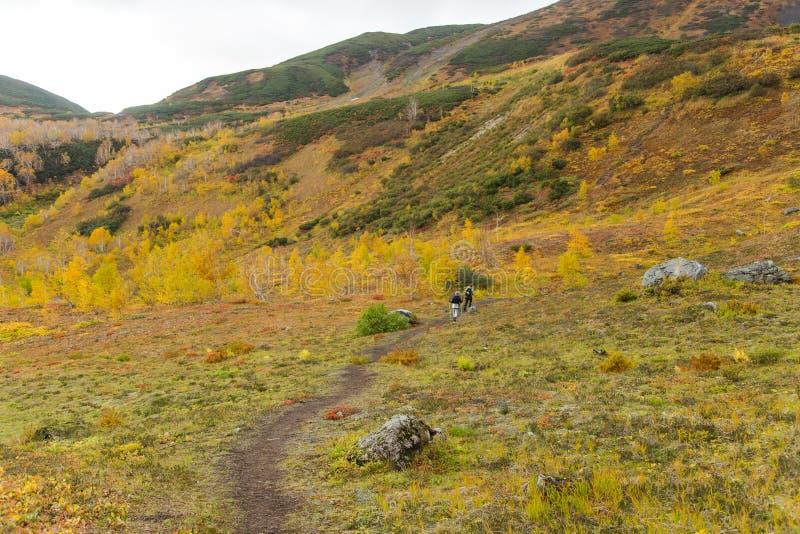 Härligt höstlandskap i berg i Kamchatka fotografering för bildbyråer