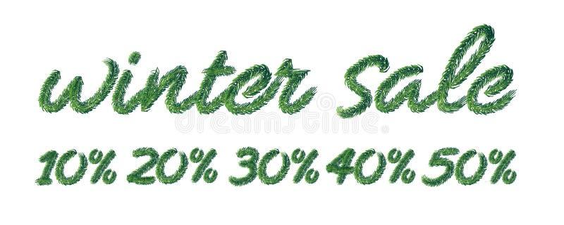 Härligt handskrivet vinterförsäljningstecken som stiliseras med barrträds- filialer med visarsidor på vit bakgrund vektor illustrationer