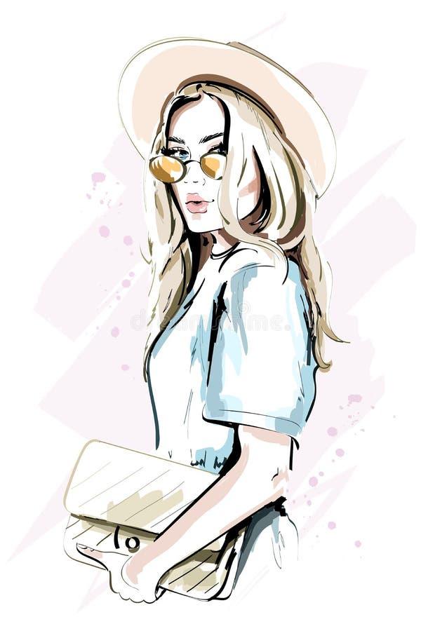 härligt hattkvinnabarn Modedam i solglasögon Stilfull kvinnastående skissa stock illustrationer