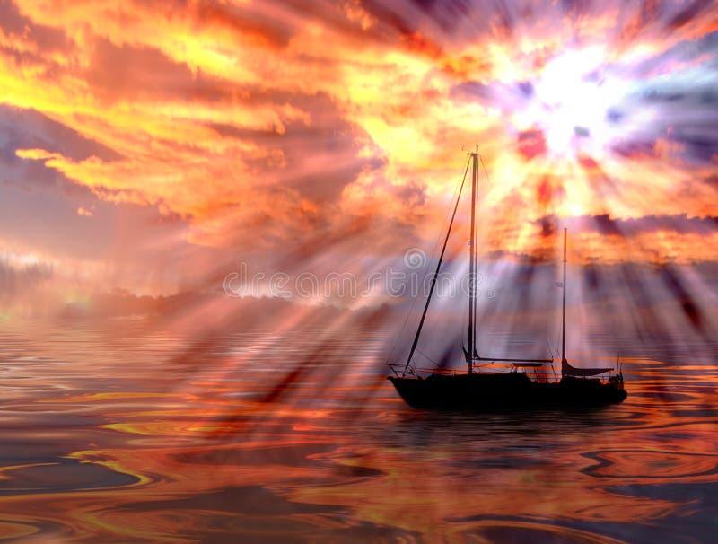 härligt hav över solnedgång royaltyfri illustrationer