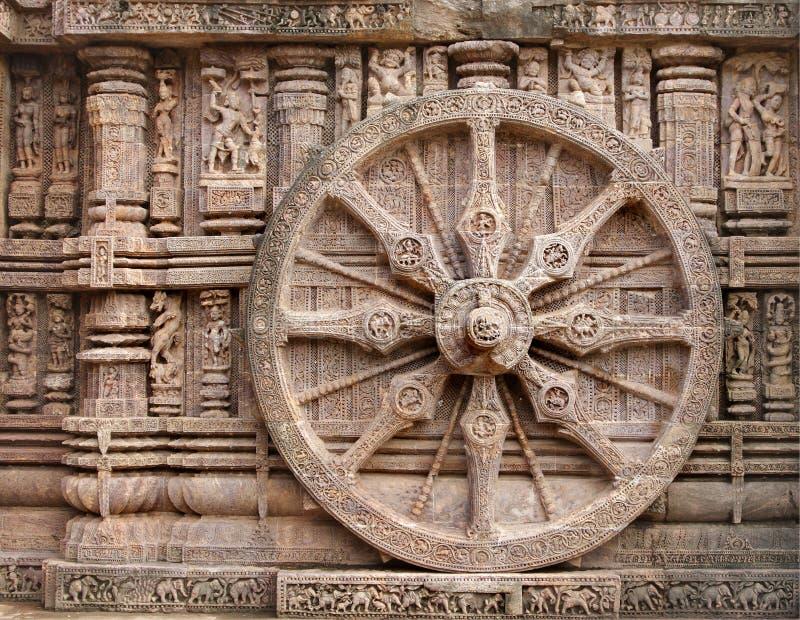 härligt hjul för tempel för sun för triumfvagnkonarkorissa royaltyfri foto