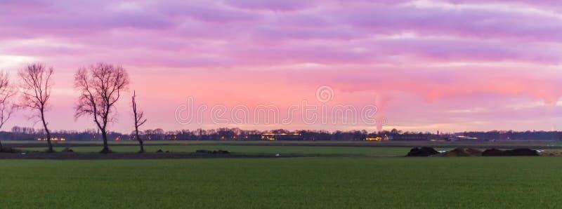 Härligt holländskt landskap av ett gräsfält med byggnader i avståndet, de nacreous molnen som färgar himmelrosa färgerna och lilo arkivbilder