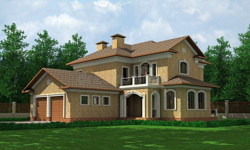 härligt hus vektor illustrationer