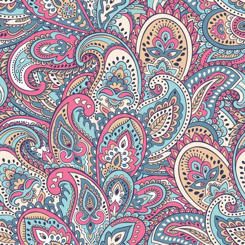 Härligt indiskt blom- paisley sömlöst prydnadtryck ethnic stock illustrationer