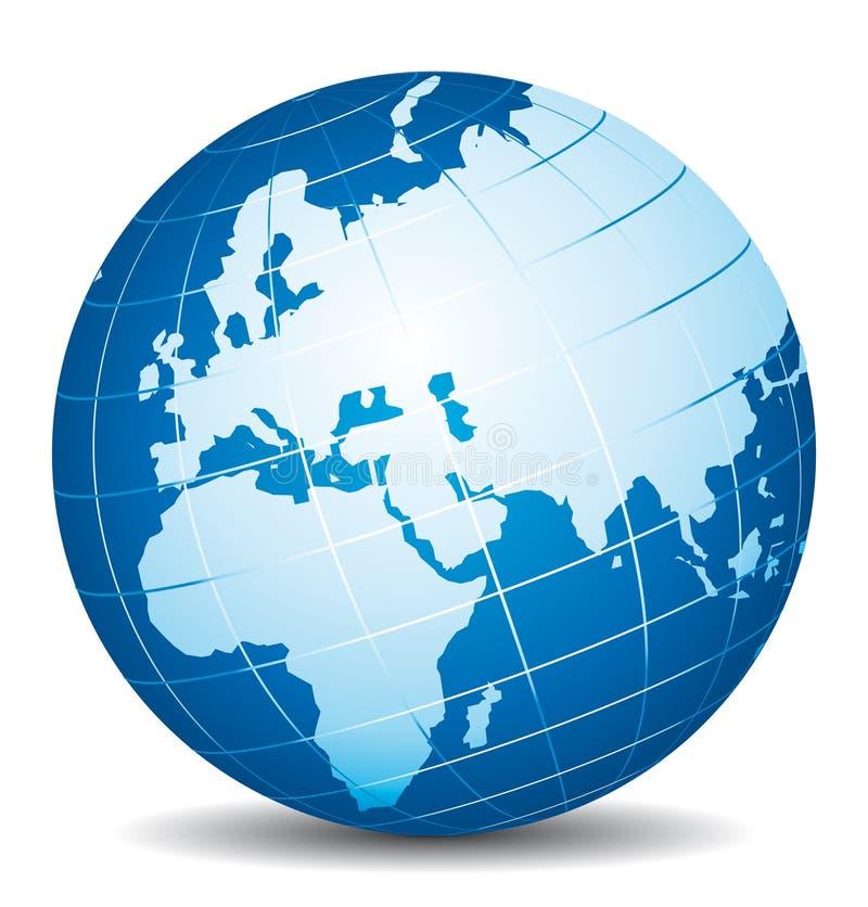 Härligt jordklot 3d Afrika, Europa och Asien sikt stock illustrationer
