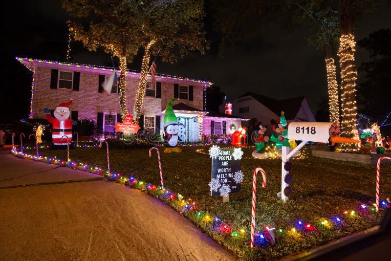 Härligt julljus i Houston, Texas royaltyfria foton
