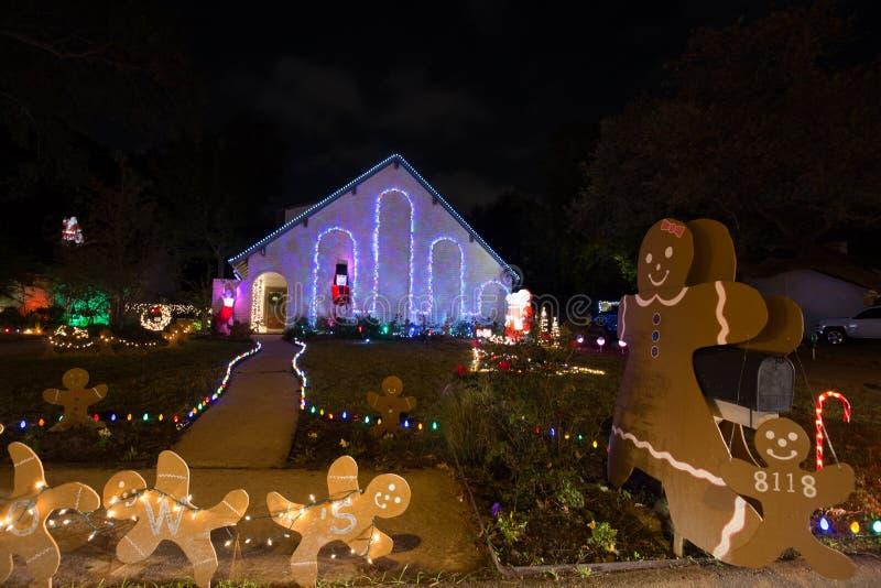 Härligt julljus i Houston, Texas royaltyfria bilder