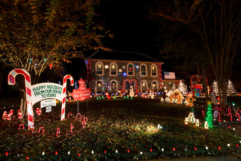 Härligt julljus i Houston, Texas royaltyfri foto