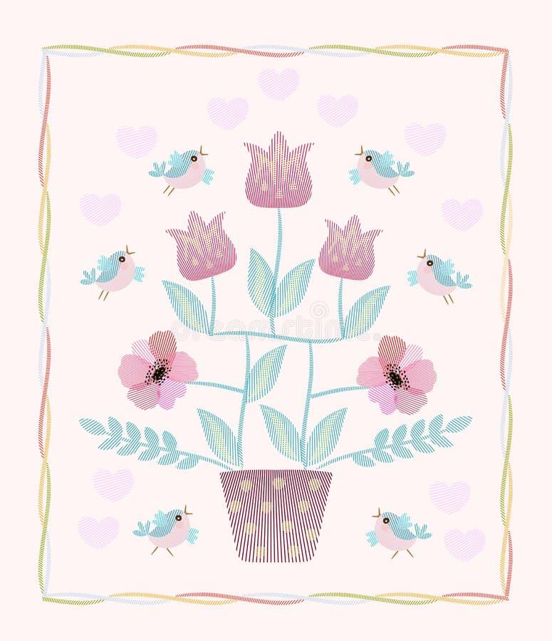 Härligt kort med det broderade blomma trädet, flygfåglar och hjärtor i vektor stock illustrationer