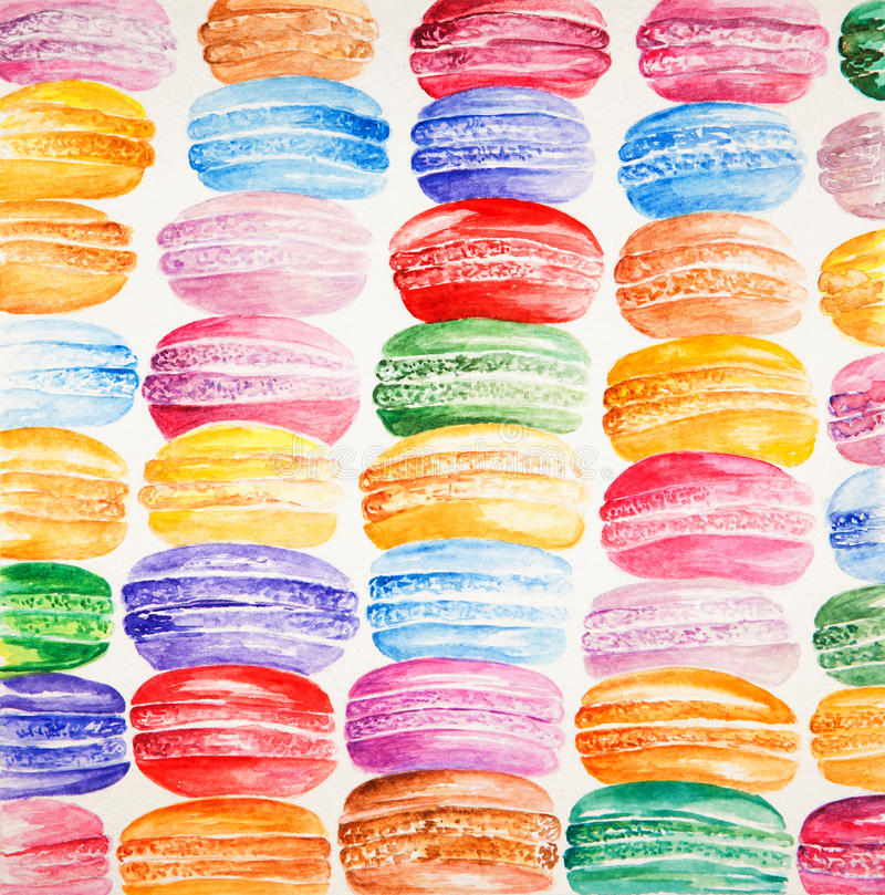 Härligt kort med vattenfärg målat färgrikt stock illustrationer