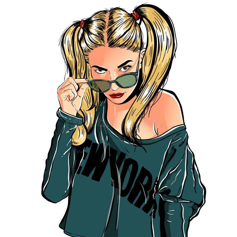 härligt kvinnabarn Modedam i solglasögon Stilfull kvinnastående skissa också vektor för coreldrawillustration stock illustrationer